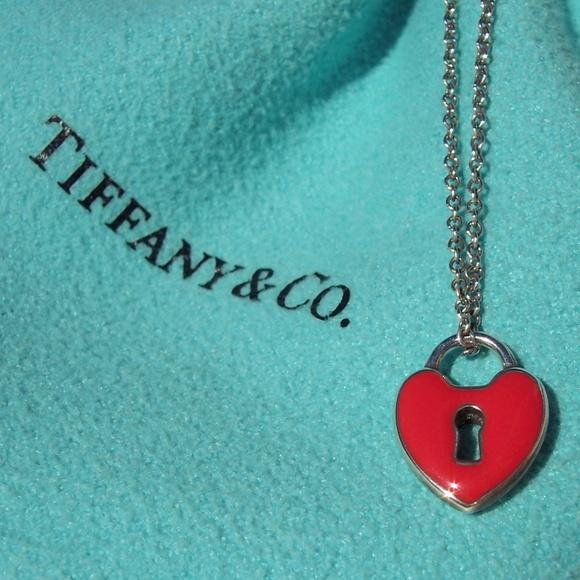 848abc4b0b66 Tiffany   Co. Heart Lock Necklace RARE Red Enamel.  M 5aa4be086bf5a68832cbb272
